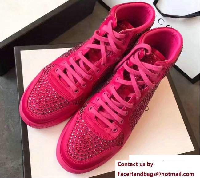 Gucci Crystal Embellished Sneakers Fuchsia 2017