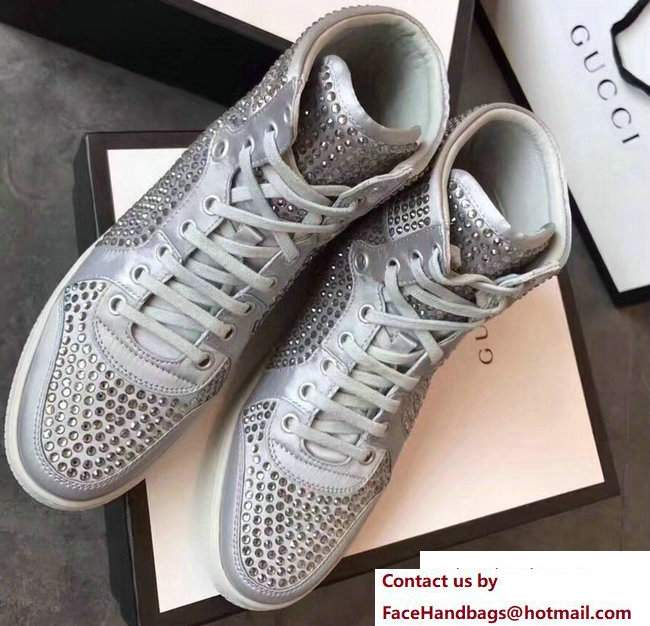 Gucci Crystal Embellished Sneakers Gray 2017