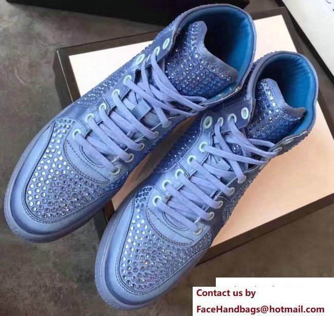 Gucci Crystal Embellished Sneakers Light Blue 2017