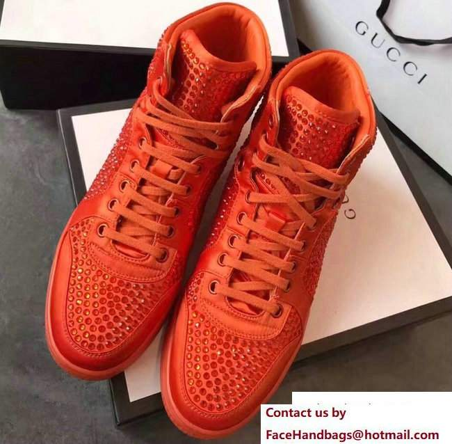 Gucci Crystal Embellished Sneakers Orange 2017