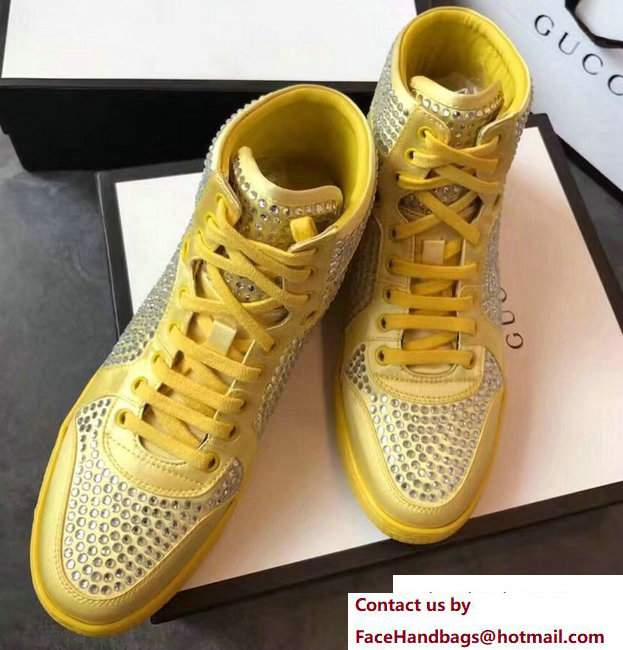 Gucci Crystal Embellished Sneakers Yellow 2017