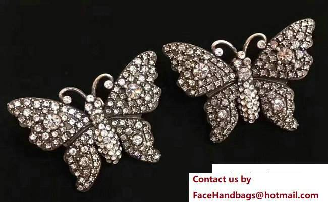 Gucci Crystal Studded Butterfly Earrings 503919