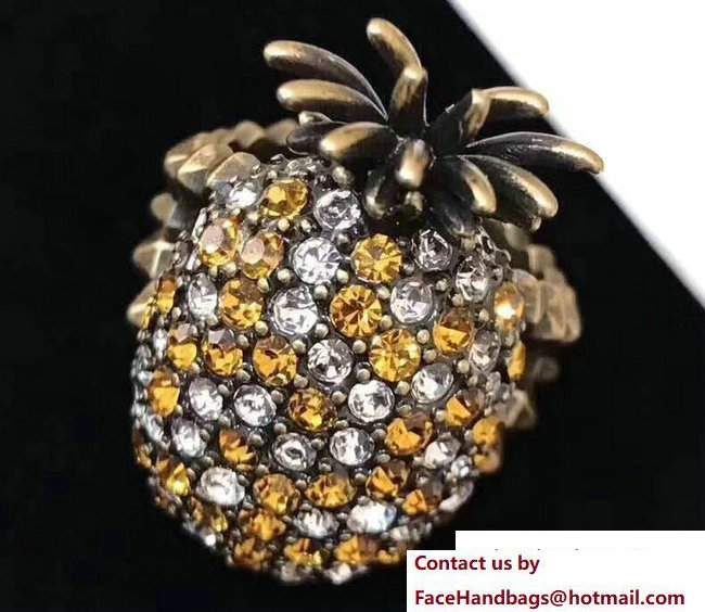 Gucci Crystal Studded Pineapple Ring In Metal 503980