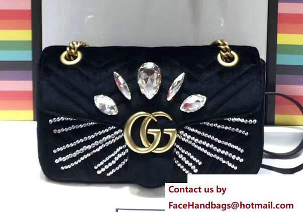 Gucci Crystals GG Marmont Velvet Small Chain Shoulder Bag 443497 Black 2017