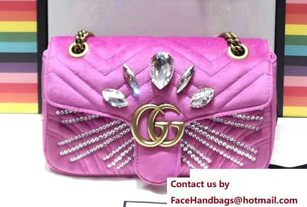Gucci Crystals GG Marmont Velvet Small Chain Shoulder Bag 443497 Pink 2017