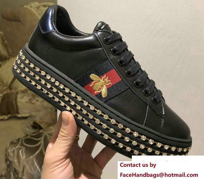 Gucci Crystals Platform Web Ace Sneakers 505995 Bee Black 2017