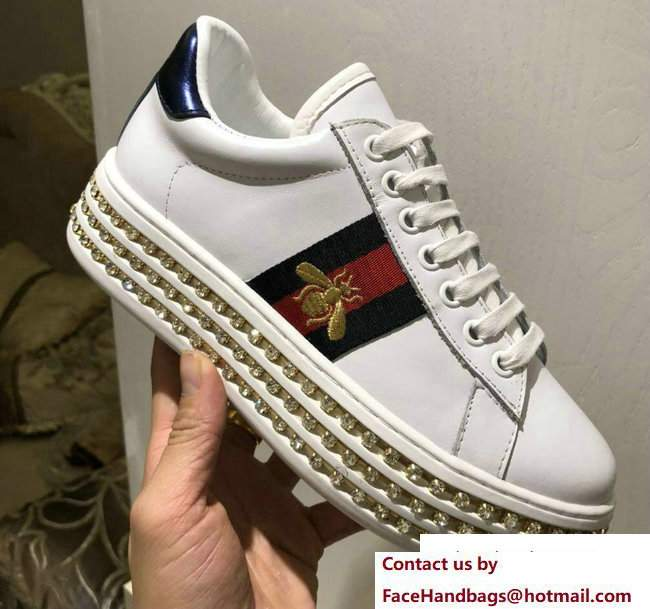 Gucci Crystals Platform Web Ace Sneakers 505995 Bee White 2017