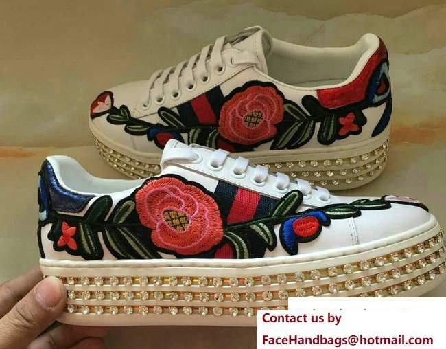 Gucci Crystals Platform Web Ace Sneakers 505995 Flower White 2017