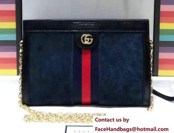 Gucci Structured Shape Ophidia GG Small Shoulder Bag 503877 Suede Dark Blue 2017
