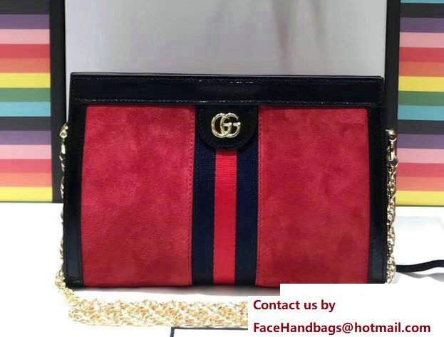 Gucci Structured Shape Ophidia GG Small Shoulder Bag 503877 Suede Red 2017