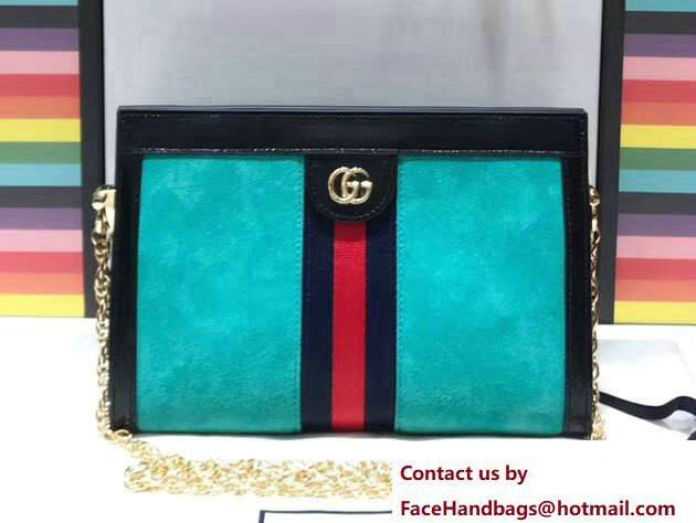 Gucci Structured Shape Ophidia GG Small Shoulder Bag 503877 Suede Turquoise 2017