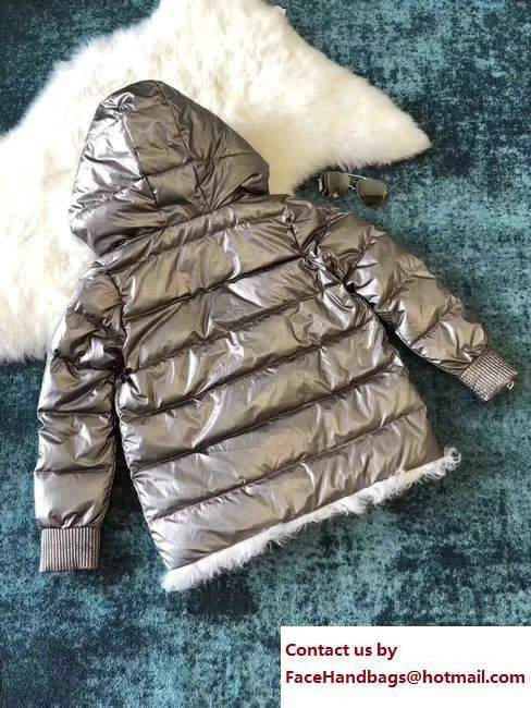 Moncler Down Coat Silver with Shearling 2017