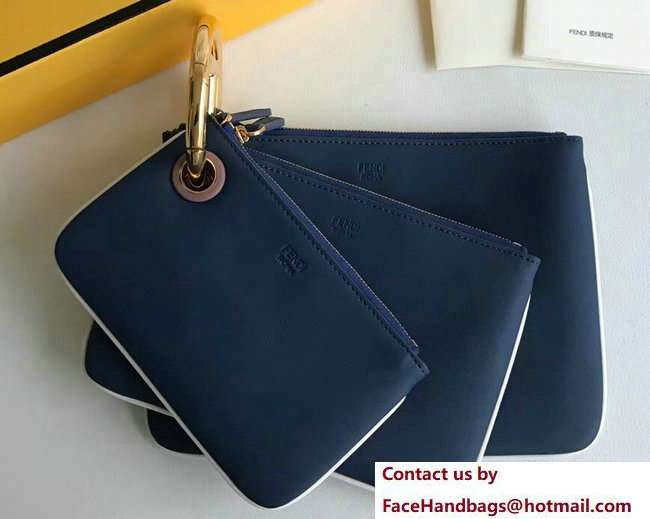 Fendi Triplette Leather Pouch Clutch Bag Blue 2018