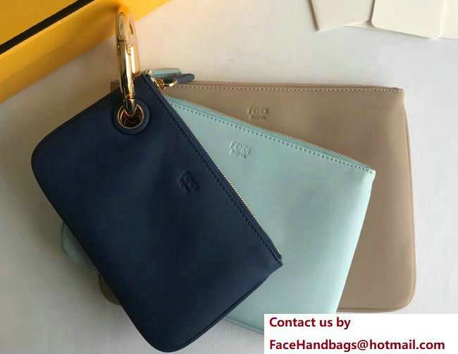 Fendi Triplette Leather Pouch Clutch Bag Blue/Cyan/Beige 2018