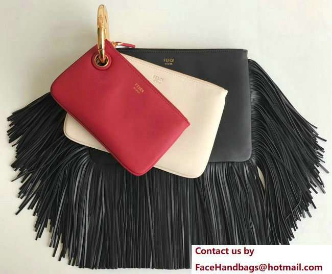 Fendi Triplette Leather Pouch Clutch Bag Fringing Red/White/Black 2018