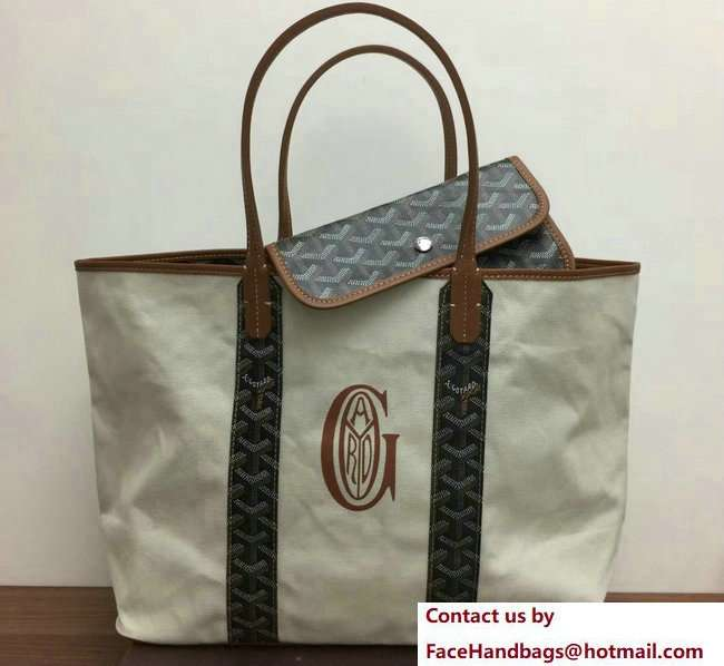 Goyard Logo Print Saint Louis Pertuis Reversible Tote Beach PM/GM Bag Brown