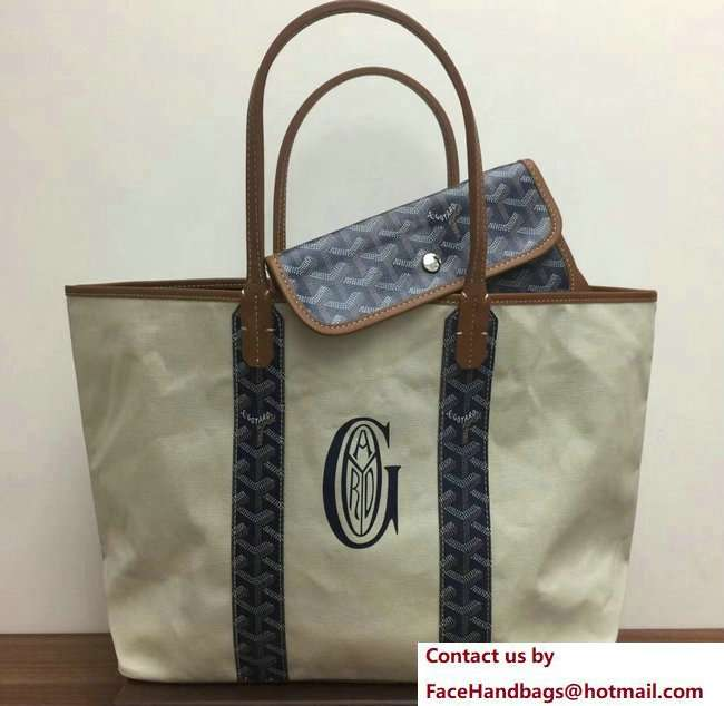 Goyard Logo Print Saint Louis Pertuis Reversible Tote Beach PM/GM Bag Dark Blue