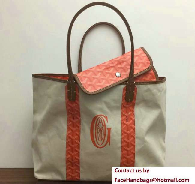 Goyard Logo Print Saint Louis Pertuis Reversible Tote Beach PM/GM Bag Orange