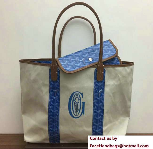 Goyard Logo Print Saint Louis Pertuis Reversible Tote Beach PM/GM Bag Sky Blue