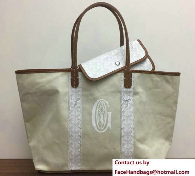Goyard Logo Print Saint Louis Pertuis Reversible Tote Beach PM/GM Bag White