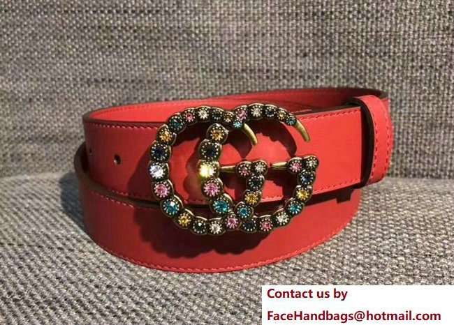 Gucci 3cm belt red with multicolor crystals buckle 2018