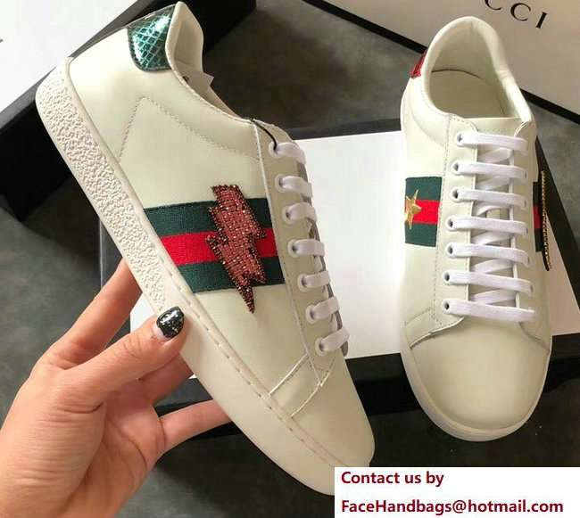 Gucci Ace Leather Low-Top Lovers Sneakers ,Web Embroidered Crystal Lightning Bolt Creamy 2018