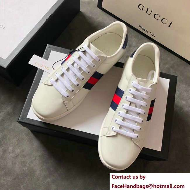 Gucci Ace Leather Low-Top Lovers Sneakers Blue/Red Web Creamy 2018