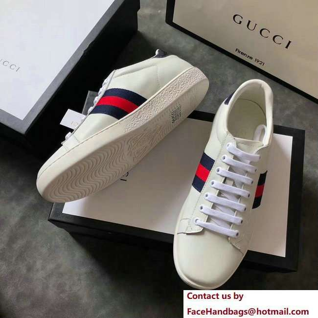 Gucci Ace Leather Low-Top Lovers Sneakers Blue/Red Web Creamy 2018 - Click Image to Close