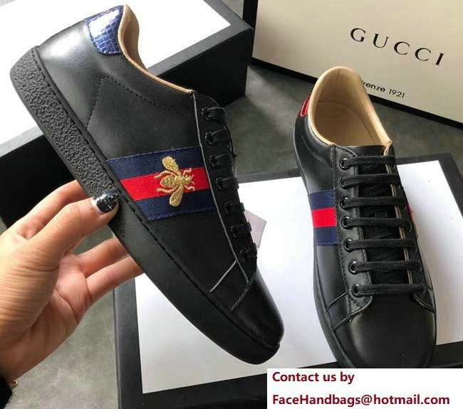 Gucci Ace Leather Low-Top Lovers Sneakers Blue/Red Web Embroidered Bee Black 2018