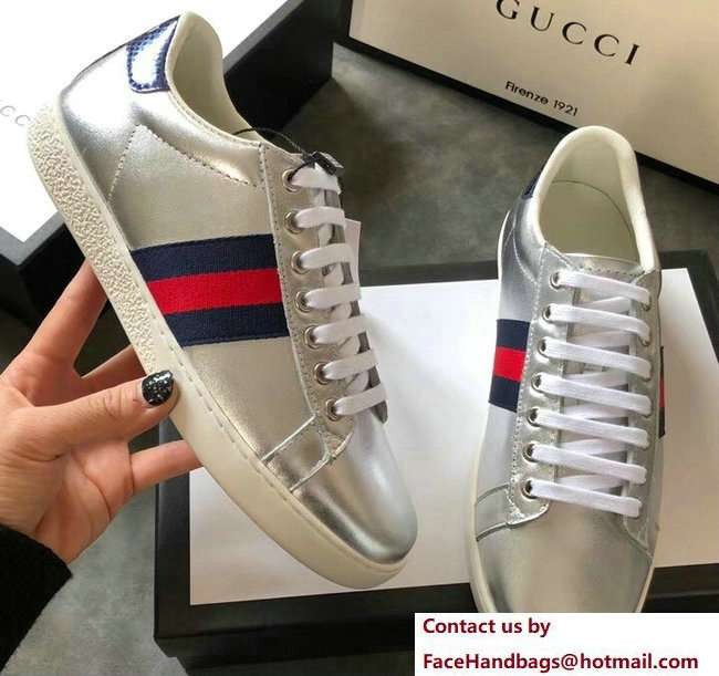 Gucci Ace Leather Low-Top Lovers Sneakers Blue/Red Web Silver 2018