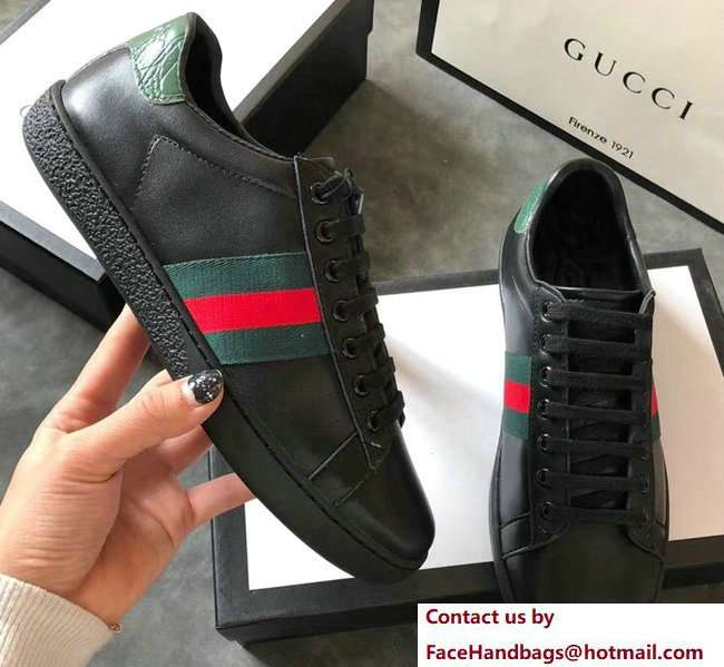 Gucci Ace Leather Low-Top Lovers Sneakers Green/Red Web Black 2018