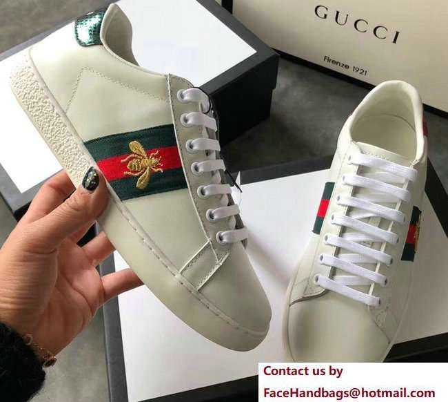Gucci Ace Leather Low-Top Lovers Sneakers Green/Red Web Embroidered Bee Creamy 2018