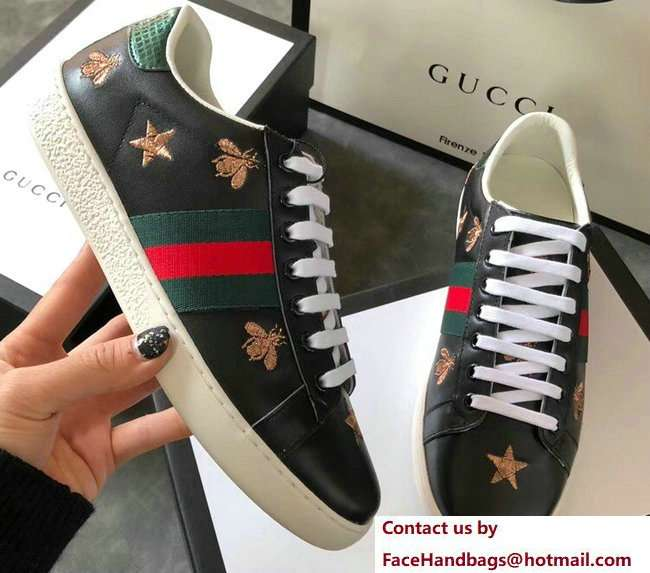 Gucci Ace Leather Low-Top Lovers Sneakers Green/Red Web Embroidered Bees and Stars Black 2018