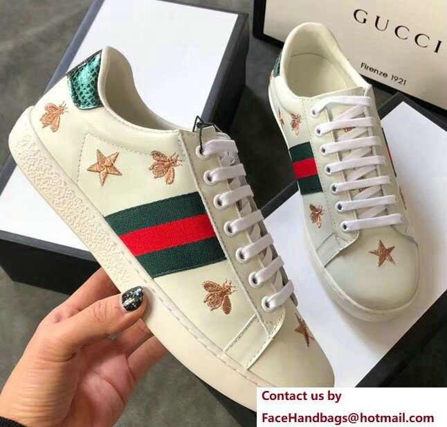Gucci Ace Leather Low-Top Lovers Sneakers Green/Red Web Embroidered Bees and Stars Creamy 2018
