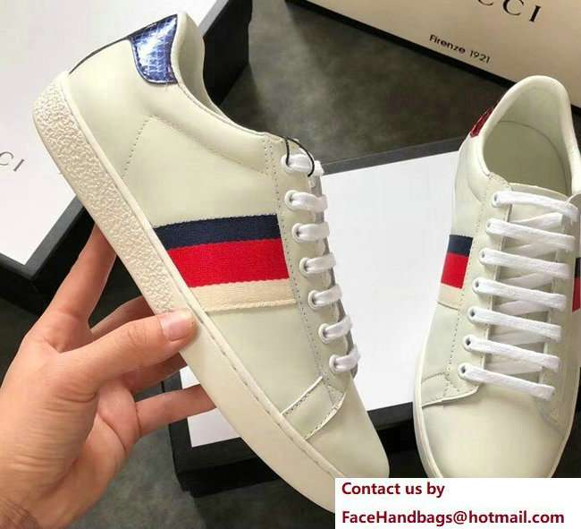 Gucci Ace Leather Low-Top Lovers Sneakers Web Creamy 2018
