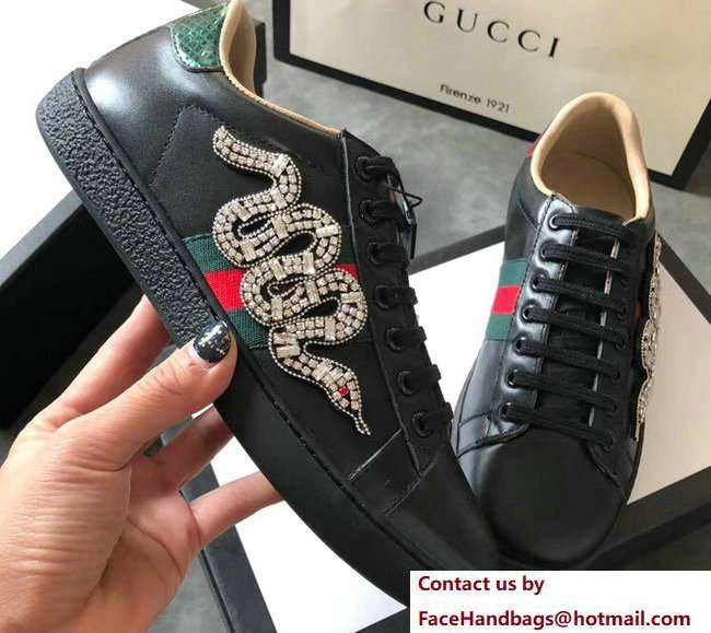 Gucci Ace Leather Low-Top Lovers Sneakers Web Crystal Embroidered Kingsnake Black 2018
