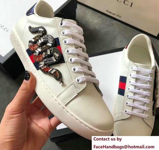 Gucci Ace Leather Low-Top Lovers Sneakers Web Crystal Embroidered Kingsnake Creamy 2018