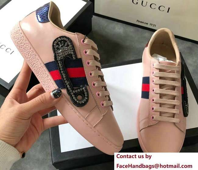 Gucci Ace Leather Low-Top Lovers Sneakers Web Crystal Embroidered Safety Pin Pink 2018