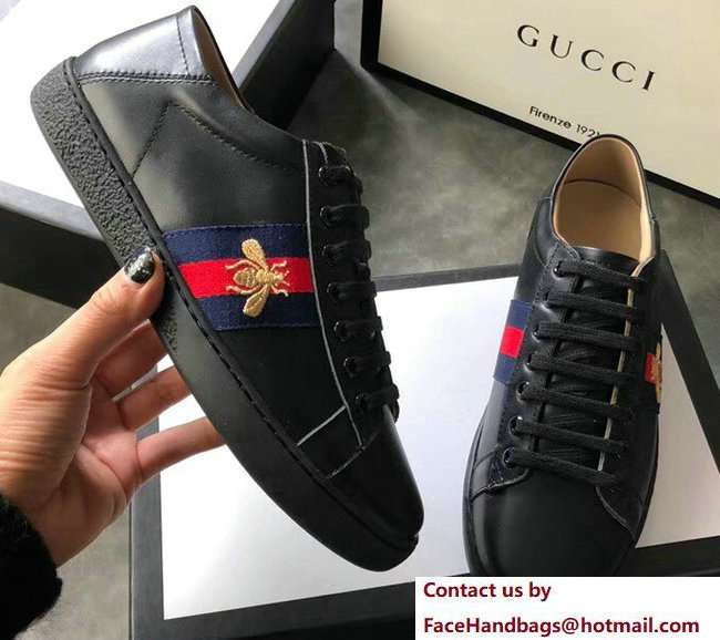 Gucci Ace Leather Low-Top Lovers Sneakers Web Embroidered Bee Black 2018