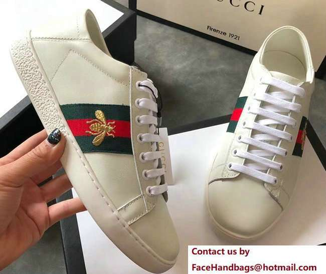 Gucci Ace Leather Low-Top Lovers Sneakers Web Embroidered Bee Creamy 2018