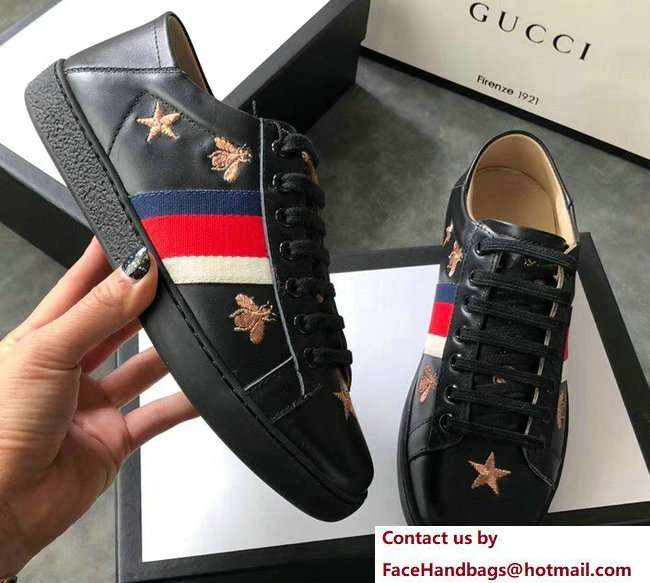 Gucci Ace Leather Low-Top Lovers Sneakers Web Embroidered Bees and Stars Black 2018
