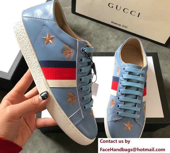 Gucci Ace Leather Low-Top Lovers Sneakers Web Embroidered Bees and Stars Blue 2018