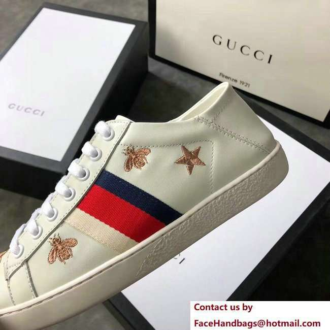 Gucci Ace Leather Low-Top Lovers Sneakers Web Embroidered Bees and Stars Creamy 2018