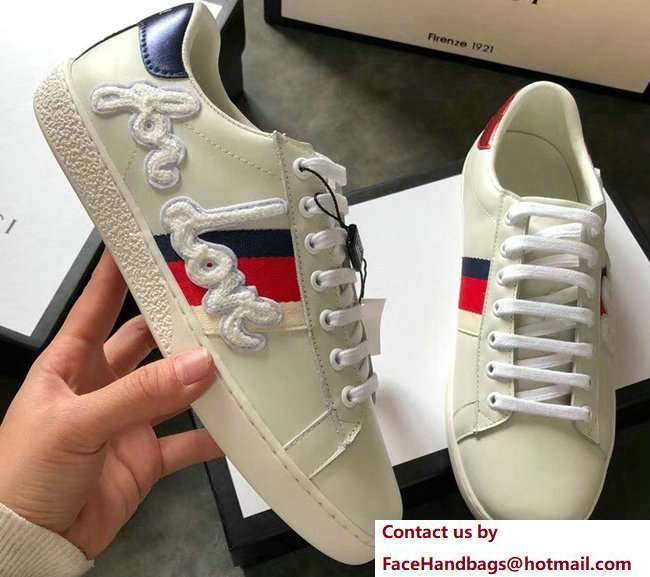 Gucci Ace Leather Low-Top Lovers Sneakers Web Embroidered Blind For Love Creamy 2018