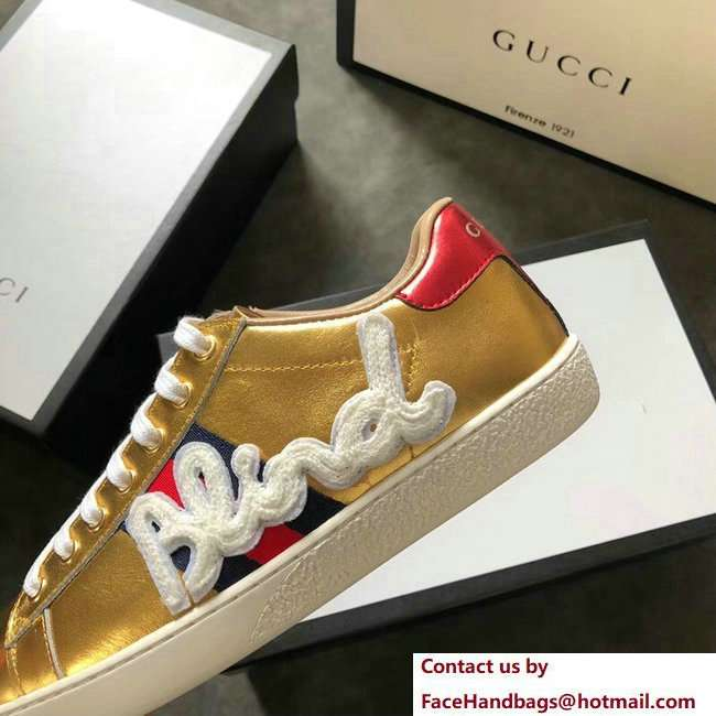 Gucci Ace Leather Low-Top Lovers Sneakers Web Embroidered Blind For Love Gold 2018