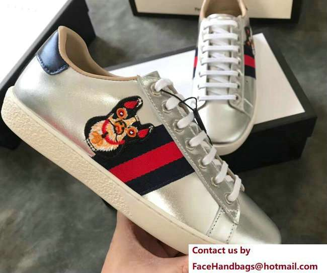 Gucci Ace Leather Low-Top Lovers Sneakers Web Embroidered Boston Terrier Bosco Silver 2018