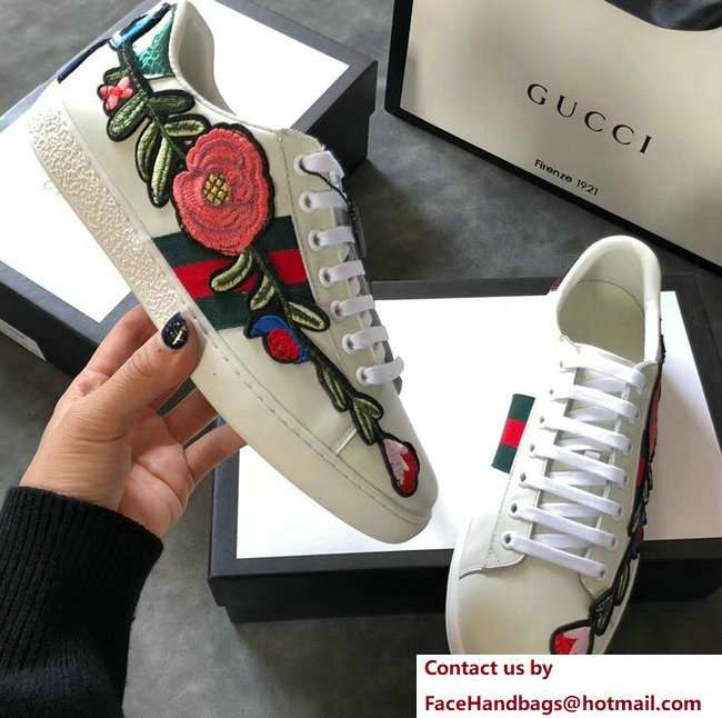 Gucci Ace Leather Low-Top Lovers Sneakers Web Embroidered Floral and Bow Creamy 2018