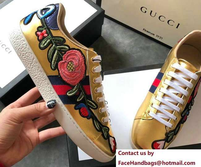 Gucci Ace Leather Low-Top Lovers Sneakers Web Embroidered Floral and Bow Gold 2018