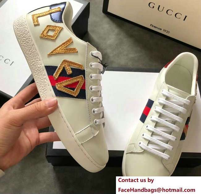 Gucci Ace Leather Low-Top Lovers Sneakers Web Embroidered Loved Creamy 2018