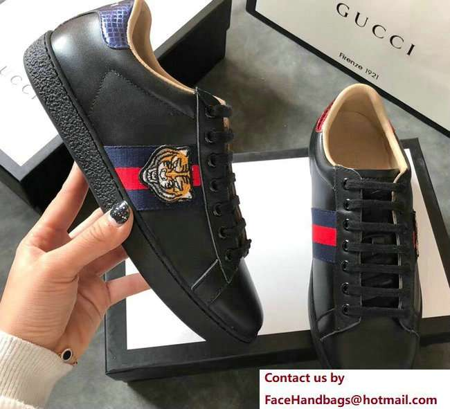 Gucci Ace Leather Low-Top Lovers Sneakers Web Embroidered Tiger Black 2018